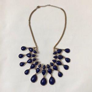 Jewelry - Gold w/ Blue Stones Bib Costume Jewelry Necklace
